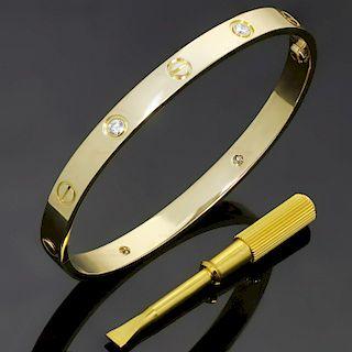 CARTIER LOVE 4 Diamond 18k Yellow Gold Bracelet Size 16