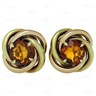 CARTIER Love-Knot Citrine 18k Rose & Yellow Gold Earrings