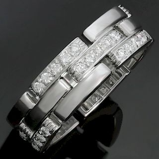 CARTIER Maillon Panthère 3-Row Half-Pave Diamond 18k White Gold Band Ring