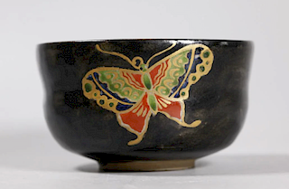 Black Chawan with Enameled Butterflies, signed Ninsei
