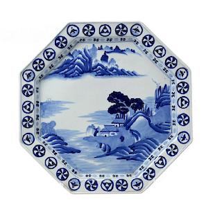 Large Blue and White Hexagonal Charger, Edo/Meiji Period