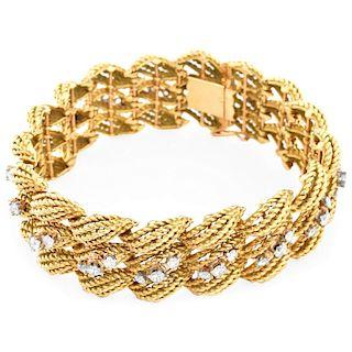 French Diamond and 14K Gold Bracelet