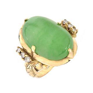Natural Jade, Diamond and 14K Ring
