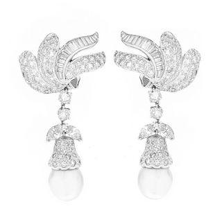 Diamond, Pearl and Platinum Earrings