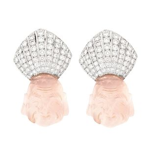 Tambetti Diamond and Platinum Ear Clips