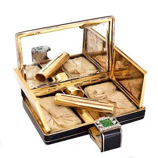 Art Deco Corona Enamel Diamond Jade Compact