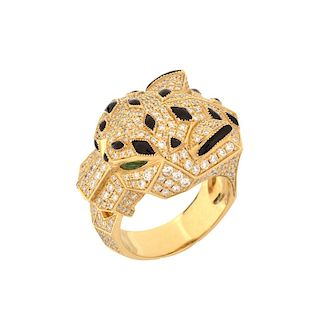Cartier Diamond, Onyx, Emerald 18K Ring