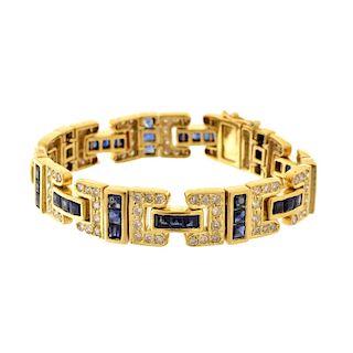 Diamond and Sapphires 18K Bracelet