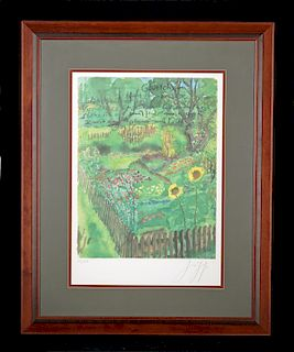 Signed & Framed Gunther Grass Lithograph in Colors 1999