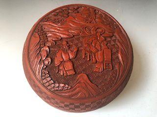 A BIG CHINESE ANTIQUE RED CINNABAR BOX,19C