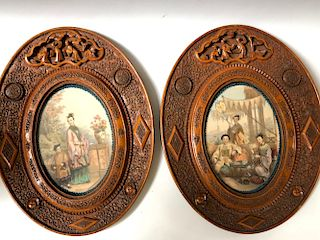 A PAIR OF VANTAGE CHINESE SCENE PAINTING WITH FRAMES