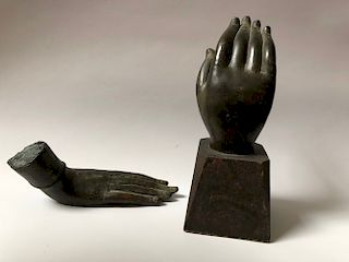 TWO OF ANTIQUE BUDDHA BRONZED HANDS