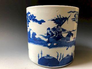 A LARGE ANTIQUE  BLUE AND WHITE PORCELAIN BRUSH POT , KANGXI PIERD