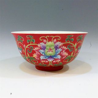 IMPERIAL CHINESE FAMILLE ROSE ENAMELLED BOWL - KANGXI MARK & PERIOD