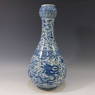 LARGE CHINESE ANTIQUE BLUE WHITE GARLIC HEAD VASE - MING DYNASTY