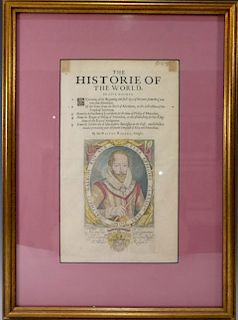 SIR WALTER RALEGH (ENGLISH, 1554 - 1618) HISTORY OF THE WORLD TITLE PAGE, FIRST EDITION, HAND COLORED