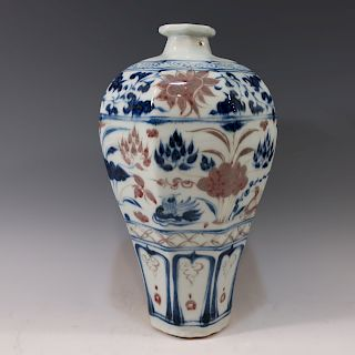 CHINESE ANTIQUE BLUE WHITE COPPER RED MEIPING VASE - MING DYNASTY
