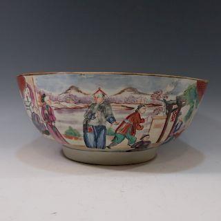 CHINESE ANTIQUE ROSE MANDARIN PUNCH BOWL - 18TH CENTURY