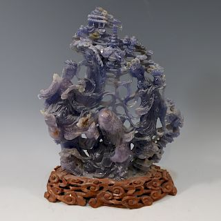 LARGE CHINESE ANTIQUE CARVED AMETHYST FIGURES - QING DYNASTY