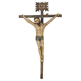 Cristo en la cruz. México. Finales del Siglo XIX. Elaborado en madera estucada y policromada. 184 x 102 cm.