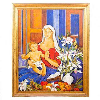 Michel Tolouse. Virgen con niño. Firmado. Siglo XXI. Óleo sobre tela Enmarcado en madera dorada. 100 x 78 cm.