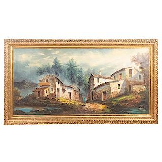 Firma sin identificar. Paisaje rural. Firmado. Óleo sobre tela. Enmarcado en madera dorada. 73 x 147 cm.