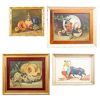 Lote de 4 obras pictóricas. Óleo sobre tela. Consta de: Francisco Jiménez Torres. Bodegón. Firmado. Enmarcado, otros.