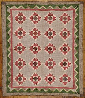 Pieced Quilt with Sawtooth Border