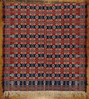 Red, White & Blue Overshot Coverlet with Fringe
