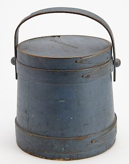 Blue Painted Firkin Signed Andrews