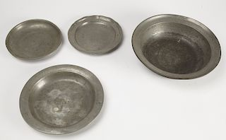 Four Early Pewter Plates