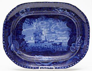 Dark Blue Staffordshire Platter of Slave Ship