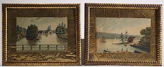 Pair Maine Primitive Watercolors,1839