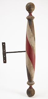 Early Painted Wall Mounted Barber Pole