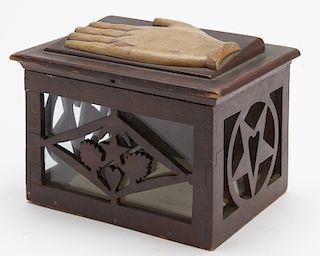 Fraternal Carved Hand Box with Hand