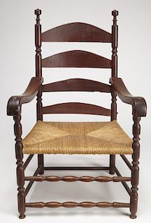 Early Painted Ladder Back Arm Chair