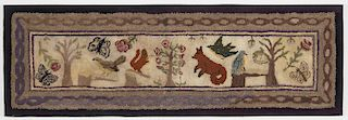 Folk Art Hooked Rug w/Animals & Trees