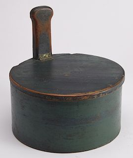 Early Green Painted Lidded Handled Piggin