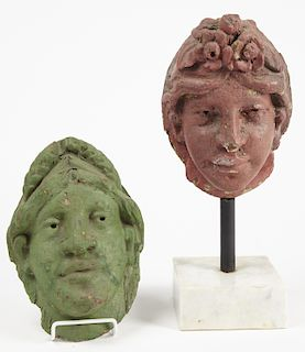 Pair of Carved Carousel Heads