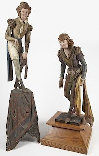 Rare Pair of Carved and Painted Theatrical Figures