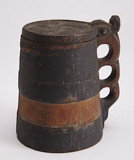 Early Wooden Carved and Painted Tankard