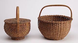2 Fine Early American Splint Baskets