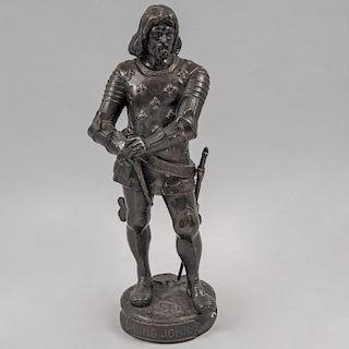 Escultura de King John. Siglo XX. Fundición en bronce patinado. 43 cm de altura.