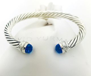 David Yurman Cable Classic Blue Topaz Diamond Bracelet