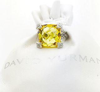 David Yurman Citrine CushionDiamond Ring