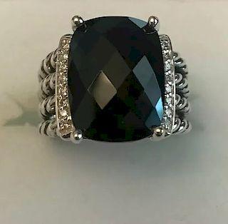 David Yurman Wheaton Black Onyx Diamond Ring Sz 6
