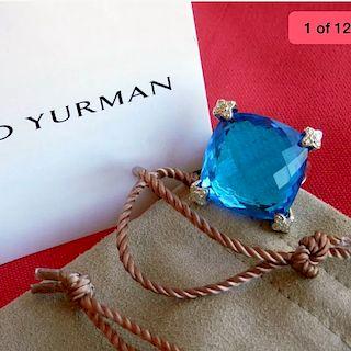 David Yurman Cushion Diamond Blue Topaz Ring Sz 6