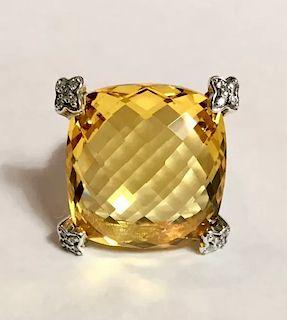 David Yurman Cushion  Diamond Lemon Citrine Ring  Sz 6