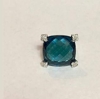 David Yurman Cushion Diamond Hampton Blue Topaz  Ring