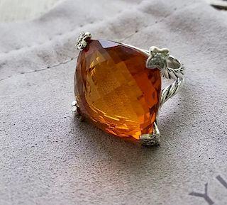 David Yurman Cushion Diamond Citrine Ring Sz 6